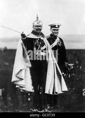 Kaiser Wilhelm II (1859-1941), Emperor of Germany and King of Prussia, with a young Winston Churchill on German - Stock Photo