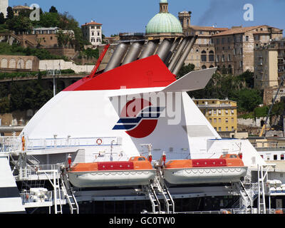 View of ships funnels at Ancona Port from onboard Minoan Lines Ferry Cruise Olympia - Stock Photo