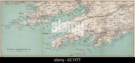 BANTRY BAY. County Cork, Ireland. Dunmanus Bay Ballydehob Glengarriff, 1901 map - Stock Photo