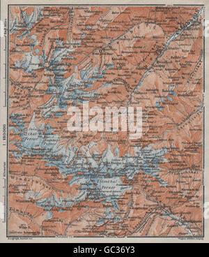 STUBAI ALPS Stubaier Alpen. Neustift im Stubaital Tirol Tyrol topo-map, 1923 - Stock Photo