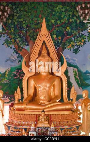 Buddha statue in the Big Buddha temple, Po Phut, Koh Samui, Surat Thani Province, Thailand, Asia - Stock Photo