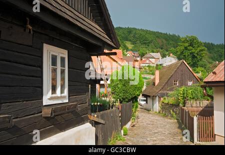 Timbered houses from 18th - 19th century, Jaronkova ulicka, Stramberk, Stramberg, Moravian-Silesian Region, Czech - Stock Photo