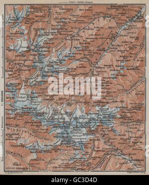 STUBAI ALPS Stubaier Alpen. Neustift im Stubaital Tirol Tyrol topo-map, 1927 - Stock Photo