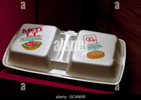 Vintage McDonald's polystyrene foam clamshell sandwich containers - USA - Stock Photo