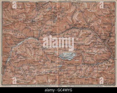 LADIN VALLEYS. Marmolada Arabba/Rèba Fascia Fodóm Mëisules Ciampedèl, 1927 map - Stock Photo