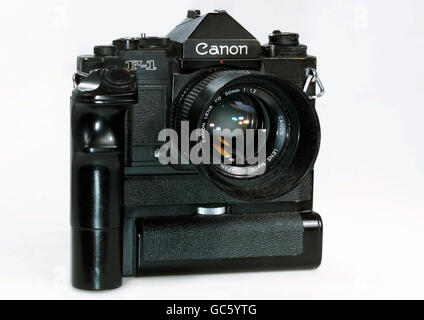 photography, cameras, Canon F-1, analogue reflex camera, 35 mm, Made in Japan, 1985, 1980s, 80s, 20th century, historic, - Stock Photo