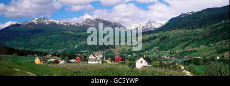 geography / travel, Norway, Ulvik, city view / city views, city, Hardanger fjord, panorama, Additional-Rights-Clearences - Stock Photo