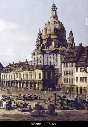 fine arts, Bellotto, Bernardo, (called: Canaletto), (20.5.1722 - 17.11.1780), painting, 'Der Neumarkt in Dresden - Stock Photo