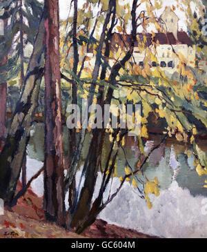 fine arts, Putz, Leo, (1869 - 1940), painting, 'Schloss Seefeld', ('Seefeld castle'), oil on canvas, 84 cm x 74 - Stock Photo