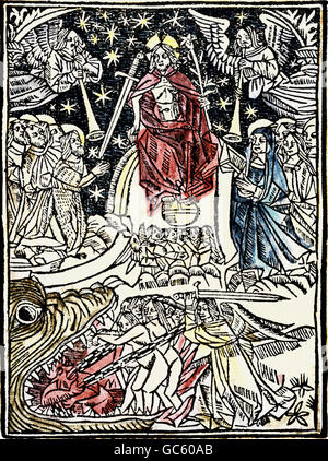 religion, Christianity, apocalypse / Last Judgement, 'Le grand examen de conscience' (The big soul-searching), woodcut, - Stock Photo