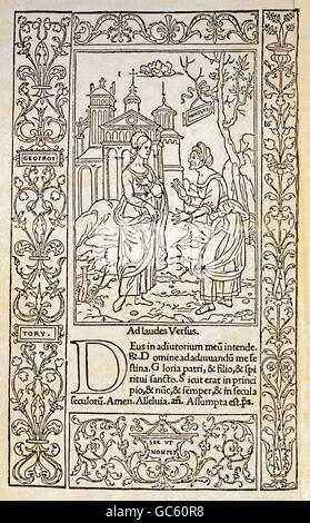religion, Christianity, books, book of hours, page, woodcut, print by Simon de Colinesand Geofroy Tory, Paris, 1525, - Stock Photo
