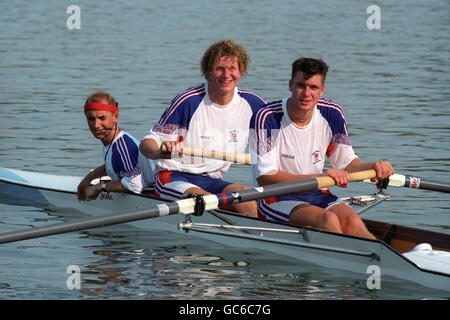 Rowing - Barcelona Olympic Games 1992 - Men's Coxed Pair - Banyoles Lake - Stock Photo