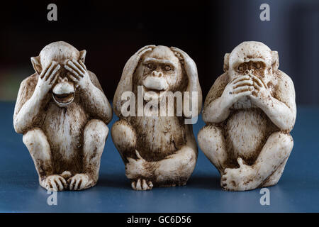close up of hand small statues with the concept of see no evil, hear no evil and speak no evil. - Stock Photo