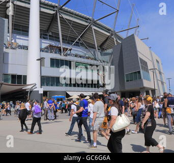 People visit MCG for AFL ground final game in Melbourne Australia. - Stock Photo
