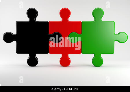 3D Illustration; German coalition partners in the Color of their parties - Stock Photo