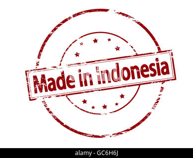 Rubber stamp with text made in Indonesia inside, vector illustration - Stock Photo