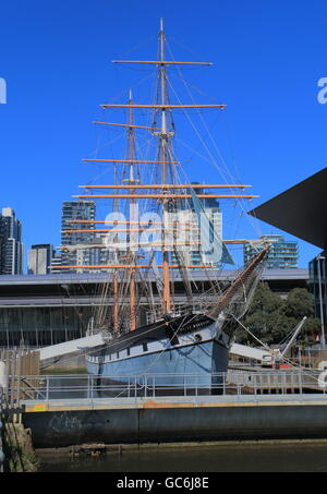 Historical sailing ship Polly Woodside at South Wharf Melbourne Australia - Stock Photo