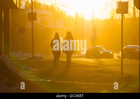 Winter in Kuopio streets, Finland - Stock Photo