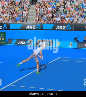 Kevin Anderson plays at Australian Open in Melbourne Australia. - Stock Photo