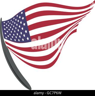 Pennant and flag icon. USA design. Vector graphic - Stock Photo