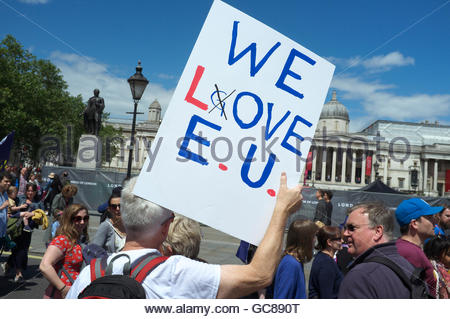 Pro EU demonstation (March for Europe), after the UK voted against membership of the EU (Brexit). 2nd July 2016, - Stock Photo