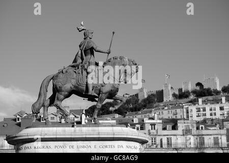 Estatua de Don Juan I Plaze de Figueira Lisbon - Stock Photo