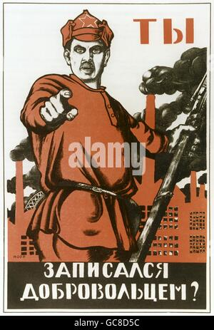 politics, propaganda, political poster, appeal, to join the Red Army, text: Are you ready for the fight?, Moscow, - Stock Photo
