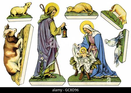 Christmas, cribs, paper cut-out, figures of saints for cut-out, small stand-up nativity scene, Germany, circa 1926, - Stock Photo