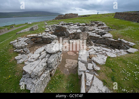 Broch of Gurness, Evie. Eynhallow Sound. North Coast. Orkney Mainland. Scotland. UK. - Stock Photo