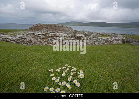 Broch of Gurness, Evie. Eynhallow Sound. North Coast. Orkney Mainland. Scotland. UK. - Stock Photo