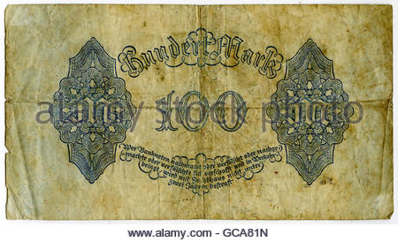 money / finance, banknotes, Germany, 100 Mark, Reichsbank, Berlin 4.8.1922, Additional-Rights-Clearences-Not Available - Stock Photo