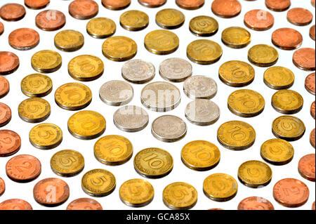 money / finances, coins, Germany, Deutschmark, pfennig coins, Germany, 1948 bis 2001, federal republic, DM, Pfennigs, - Stock Photo