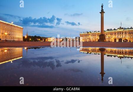 Russia, Saint-Petersburg, 03 July 2016: Palace Square with night illumination, Winter Palace, Hermitage, Alexander - Stock Photo