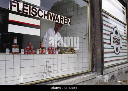 geography / travel, Germany, reunification, Fleischwarengeschäft, East-Berlin, GDR, 2.7.1990, Additional-Rights - Stock Photo
