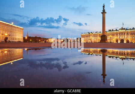 Russia, Saint-Petersburg, 03 July 2016: Palace Square with night illumination, Winter Palace, Hermitage, Alexander - Stock Photo