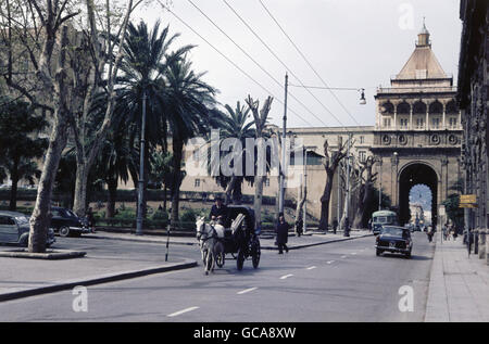 geography / travel, Italy, Sicily, Palermo, buildings, Porta Nuova, built 1583, rebuilt 1669, 1960s, Additional - Stock Photo