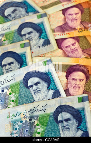 money / finances, banknotes, Iran, banknotes about 20.000 rial (blue), 50.000 rial (yellow), 2009, Additional-Rights - Stock Photo