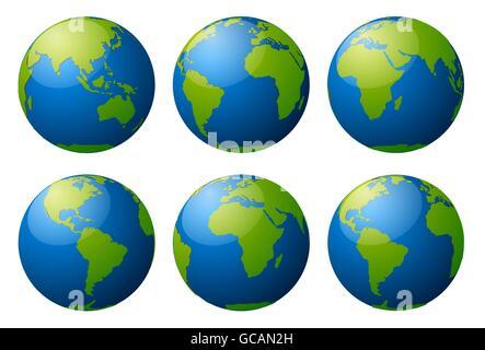 Globe earth vector icons - Stock Photo