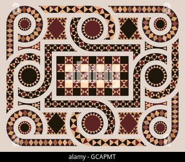 Floor mosaic background with circles pattern abstract geometric design on byzantine era church interior. The main - Stock Photo
