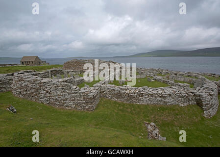 The 2000year BC Iron Age Broch of Gurness at Evie on the North coast of Orkney Mainland.  SCO 10,570. - Stock Photo