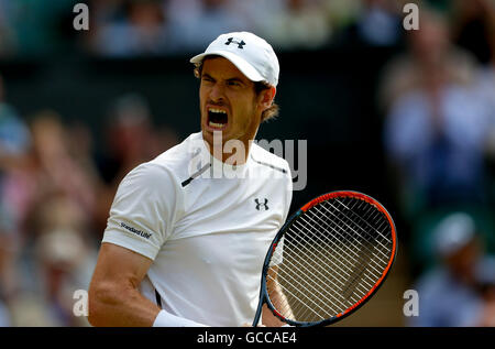 London, UK. 8th July, 2016. Andy Murray of Britain reacts during the men's singles semifinal with Tomas Berdych - Stock Photo