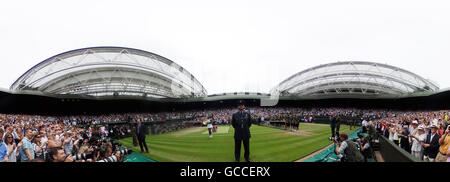 Wimbledon, London, UK. 9th July, 2016. Ladies final day Panoramic 360 degree image of Centre Court as Serena Williams, - Stock Photo