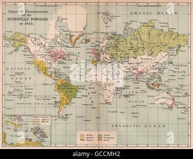 EUROPEAN POWERS' COLONIES IN 1815. British Spanish Portuguese Dutch, 1910 map - Stock Photo