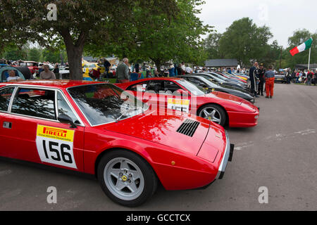 Ferraris lined up in the paddock at the French and Italian motoring festival at Prescott Hill Climb,Gloucestershire, - Stock Photo