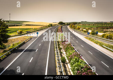Aerial view of lanes highway in Spain - Stock Photo