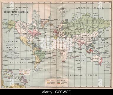 EUROPEAN POWERS' COLONIES IN 1815. British Spanish Portuguese Dutch, 1917 map - Stock Photo