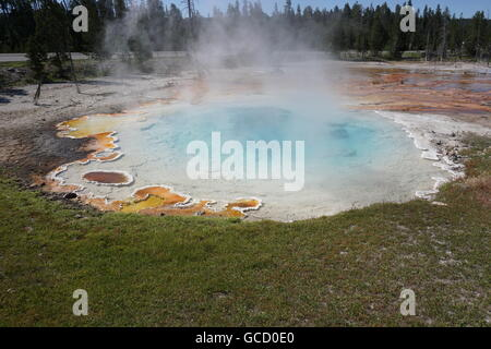 Celestine Pool at Fountain Paint Pot / Lower Geyser Basin, Yellowstone National Park - Stock Photo