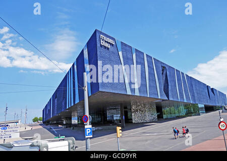 BARCELONA, SPAIN - JULY 31, 2015: The Blue Museum of Natural Sciences (Museu Blau) - an architectural landmark in - Stock Photo