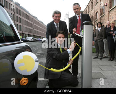 Electric vehicle charge points in Ireland - Stock Photo