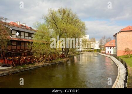 View of Brda river front in Bydgoszcz, Poland from Ku Mlynom bridge. - Stock Photo